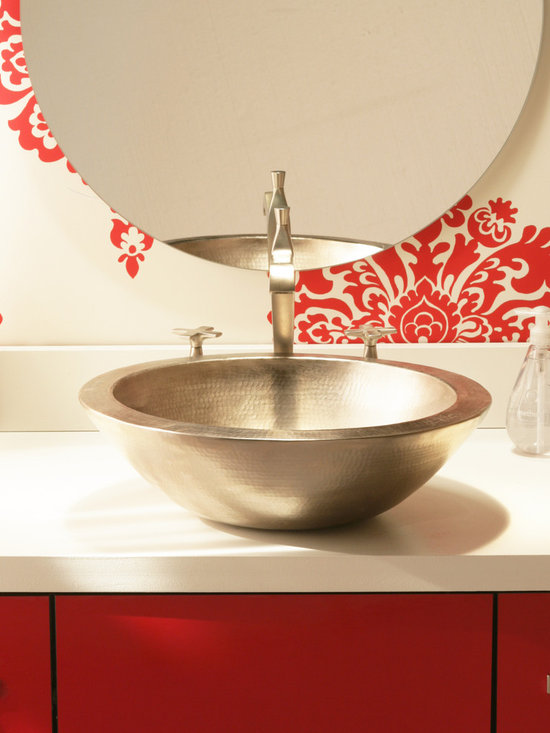 Laguna Brushed Nickel Copper Sink by Native Trails - A flawless work of art. Laguna's perfectly formed, halved copper sphere vessel could be the only decor you need in your bathroom. Choose from the striking patina of Antique copper or the luminous hand-dipped Brushed Nickel finishes.
