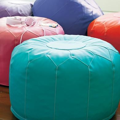 Kids Aqua Blue Faux Leather Pouf Ottoman mediterranean-kids-chairs