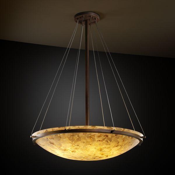 "Justice Design ALR-9697-35-DBRZ 48"" Round Pendant Bowl w/ Ring Alabaster Rocks! pendant-lighting"