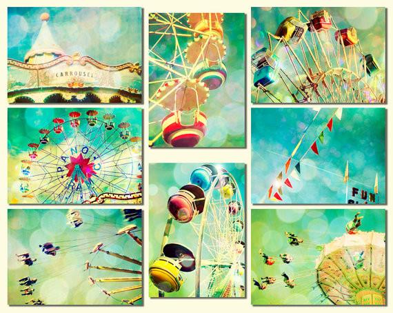 Carnival Photos Nursery Art, Turquoise, Ferris Wheel by Bomobob eclectic-nursery-decor