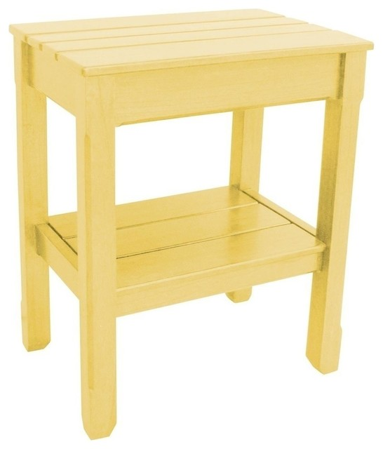 New side table yellow painted hardwood traditional for Yellow painted table