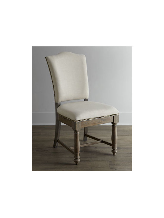 Horchow - Two Waycroft Side Chairs - Dining takes on country charm and rustic simplicity with this comfortable dining chair. Design touches such as distressing, hand-hammered nailhead trim, and delicate turnings add style to comfort. Made of hackberry solids and veneers. Hand painted. W...