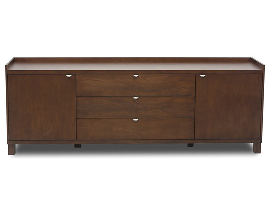 Bryght - Antonio Cocoa Wood Sideboard - The Antonio cocoa wood sideboard boasts smooth simple lines with understated elegance. The beautifully grained veneer is exclusive to every piece and adds character and style to your dining area.