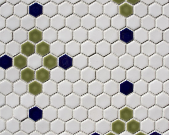 """1"""" Hexagon pattern - Classic white hex with a traditional insert. Colors can be done in anyone of Pratt and Larson's 300+ glaze options."""