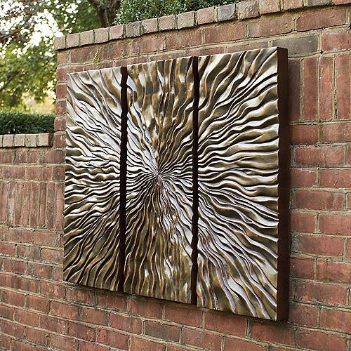 Sunburst triptych wall art frontgate modern artwork for Outside wall art