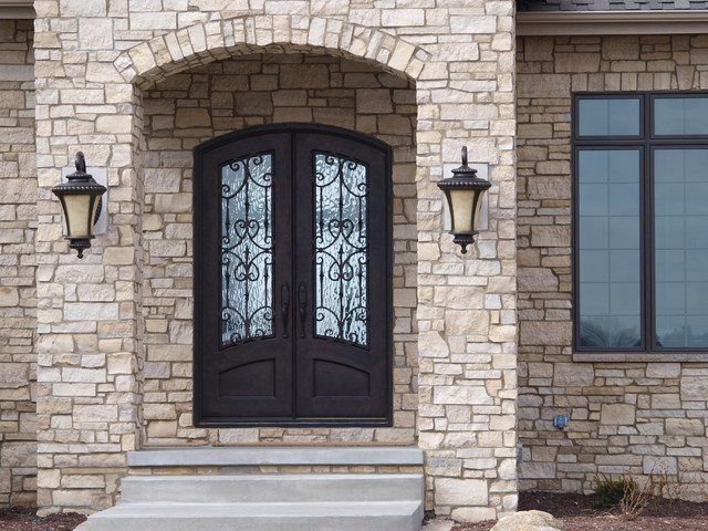 3 4 lite arch top double door mediterranean front for Double doors exterior for homes