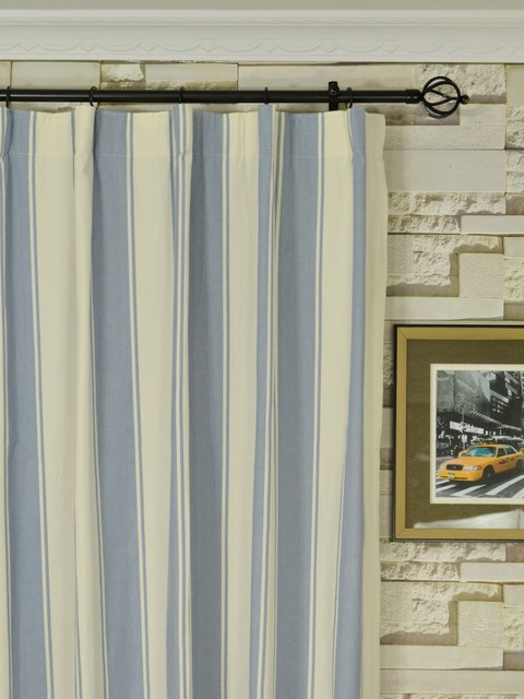 Blue Striped Cotton Blackout Window Curtains - Modern - denver - by Cheery Curtains