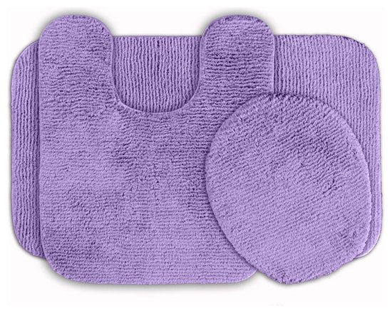 Sands Rug - Cheltenham Purple Washable Bath Rug (Set of 3) - Add a layer of plush comfort and safety with the inviting Cheltenham bath and spa rug collection. Each piece, whether a bath runner, bath mat or contoured rug, is created from soft, durable, machine-washable nylon. Each floor piece is backed with skid-resistant latex for safety.