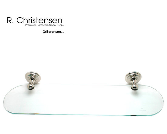 2125US14 Polished Nickel Oval Glass Shelf by R. Christensen - 24 inch wide traditional style oval glass shelf by R. Christensen in Polished Nickel.