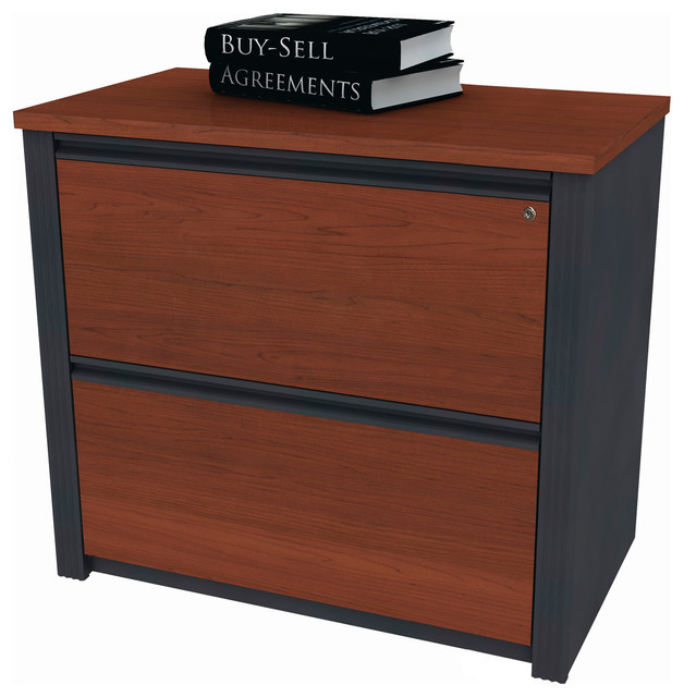 """Prestige + 36"""" Assembled Lateral File, Bordeaux and Graphite - Contemporary - Filing Cabinets ..."""