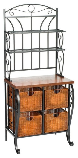 Home Decorators Collection Iron/Wicker Baker's Rack - Traditional ...