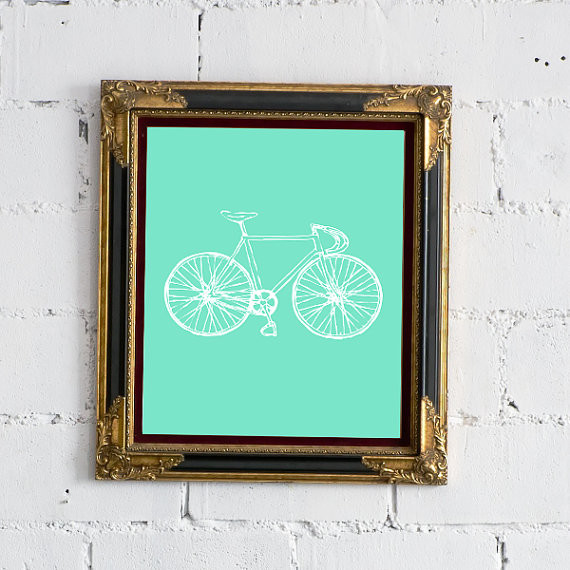 Mint Bicycle Print by After Nine To Five modern-artwork