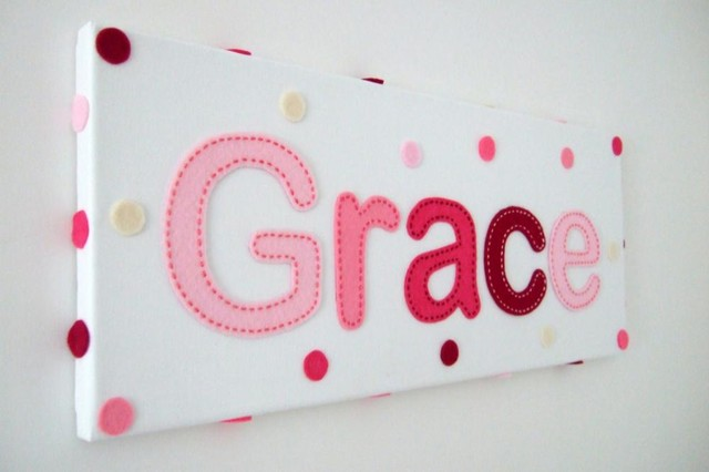 Girls Pink Personalised Handstitched Felt Name Canvas. modern nursery decor