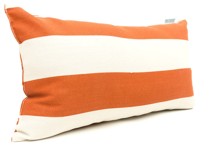 Modern Striped Pillows : Outdoor Burnt Orange Vertical Stripe Small Pillow - Contemporary - Outdoor Cushions And Pillows ...