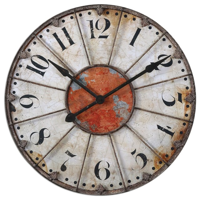 Rustic Crackle Face Oversize Wall Clock Transitional Wall Clocks By Piz