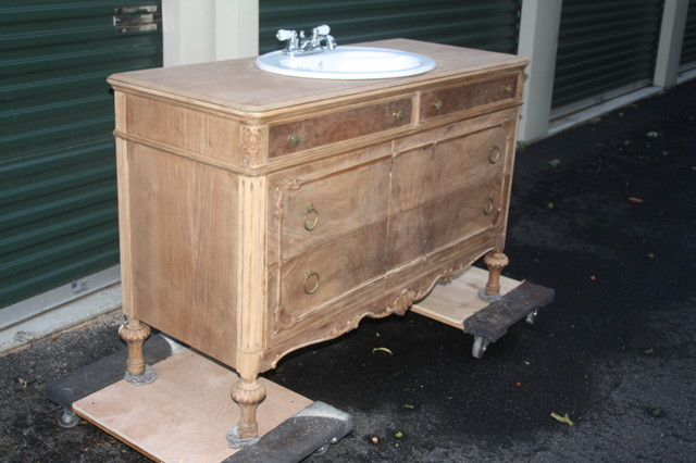 Vintage Dresser Converted Into Bathroom Vanity Bathroom Vanities And Sink Consoles Other