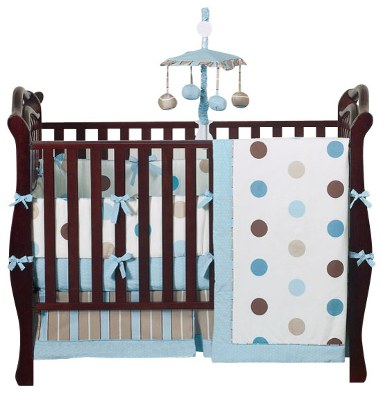 Blue and Chocolate Mod Dots 9-Piece Crib Bedding Set contemporary-cribs