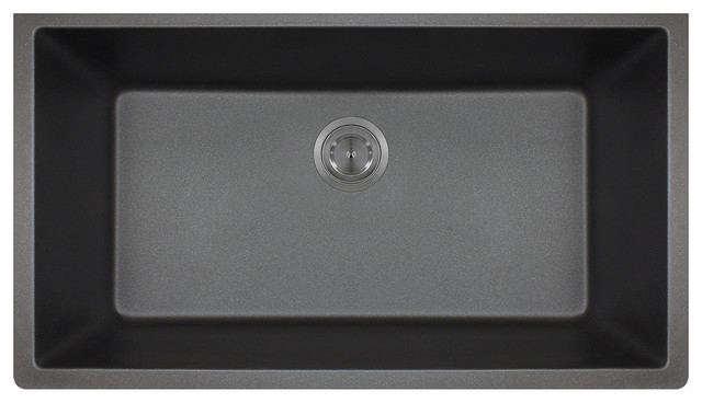 Direct 848-Black Large Single Bowl Undermount TruGranite Kitchen Sink ...