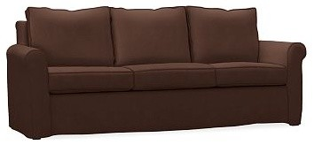 Cameron Roll Arm Sofa Slipcover, everydaysuede(TM) Mahogany traditional-chairs