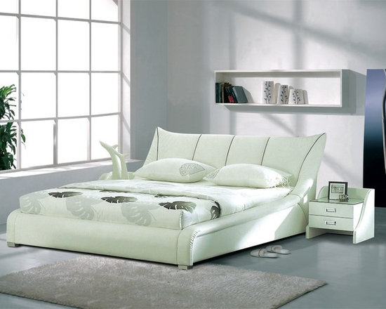Ione Bed Frame - Opulent supple genuine leather and smooth sweeping contemporary style creates a wonderfully attractive addition to your bedroom decor with the Ione Modern Leather Bed Frame.