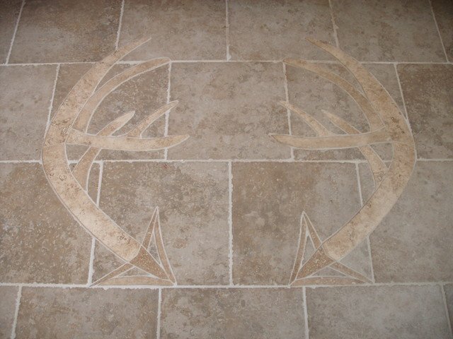 Marble Inlay Flooring Designs : Hand carved stone inlay in tile floor modern