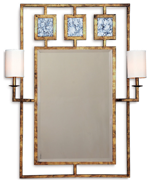 Park Avenue Hollywood Regency Gold Leaf Mirror With Sconces Transitional Mirrors By Kathy