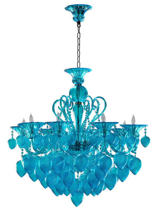 "Cyan Design Bella Vetro Aqua Chandelier in Aqua Finish - Cyan Design presents the Bella Vetro Collection's Chandelier! With an Aqua finish, this piece's Transitional style will be a great addition to your home's decor. Composed of Glass material. Dimensions: 36"" High. Measures 34 3/4"" in Diameter."