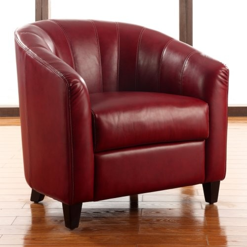 Small Red Leather Accent Chair: Hadley Faux Leather Accent Chair