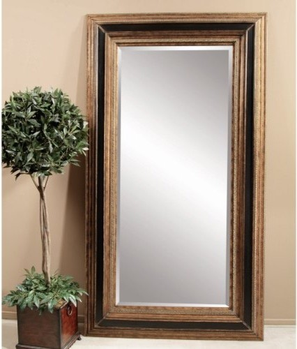 Antique Gold & Black Leaning Floor Mirror - 54W x 96H in. traditional-mirrors