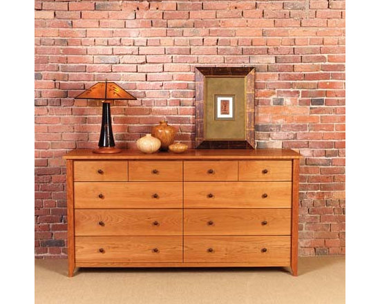PRAIRIE 10 DRAWER HORIZONTAL DRESSER - This bedroom collection rivals the simple, timeless, elegant qualities of authentic shaker furnishings. Gentle tapered legs and feet, smooth surfaces, and solid hardwood construction make this collection one that fits well with both traditional and contemporary styles.