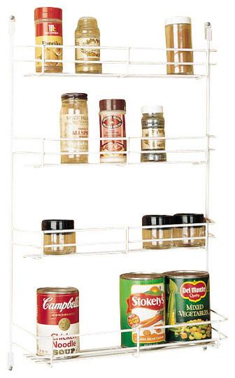 "Rev-A-Shelf 565-8-52 8"" Door Mount Spice Rack - White/Wire contemporary-spice-jars-and-spice-racks"