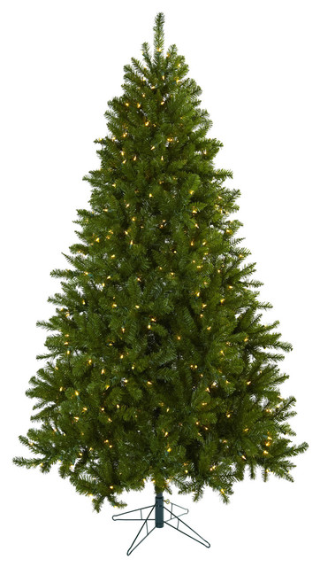 Nearly Natural 7.5' Windermere Christmas Tree with Clear Lights traditional-plants