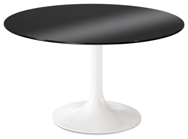 White Lacquered Corona 120 Round Table Black Modern Dining Tables