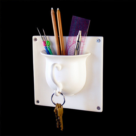 Hookmaker Teacup Tile For Storage eclectic hooks and hangers