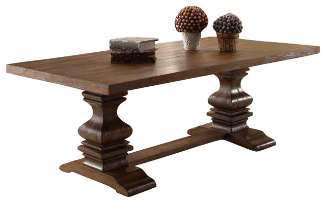 Homelegance Marie Louise Double Pedestal Cocktail Table In Rustic Brown Traditional Coffee