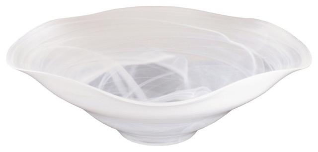 Large white glass bowl centerpiece w opaque swirl