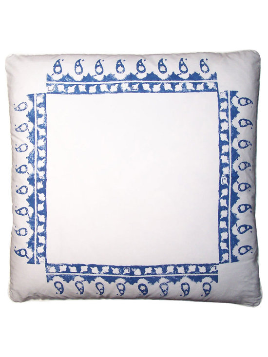 Printed Pillow ~ Blue and White  Covers - High-end Custom and Ready made pillows available on-line. Classic Blue and White Decorative Pillow Covers in a Hand Block Printed Paisley Design;  A Border Print Utilizing an old East Indian Hand Carved Wooden Print Block. See Coordinating Pillows. Couture Custom Workroom Services Available. Artisanaworks