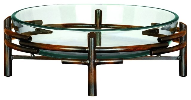 Large glass centerpiece bowl set metal abstract piping