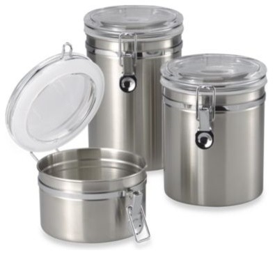 Brushed stainless steel canister contemporary kitchen for Hearth and home designs canister set