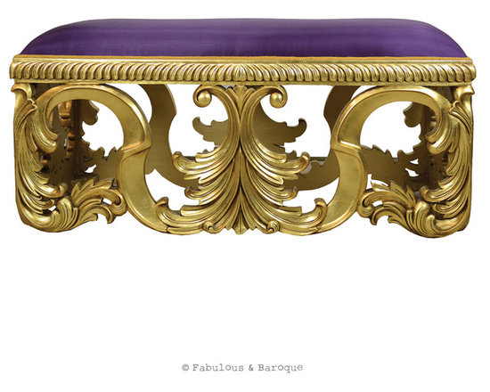 Fabulous & Baroque - Fabulous and Baroque's Simone Bench - The exquisite velvet Simone bench is a breathtaking seating arrangement, with elaborate ornamental legs finished in stunning antiqued gold leaf and upholstered in iris silk. The Simone bench will add elegance and style to any bedroom, hallway or sitting room and will easily become your favorite piece!