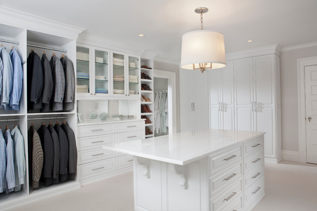 White Painted Maple Wood Walk-In Closet & Dressing Room, Westchester County, NY traditional closet