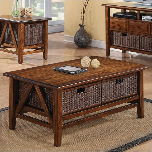 Riverside furniture claremont rectangular cocktail table with 2 baskets in toffe tropical Coffee table baskets