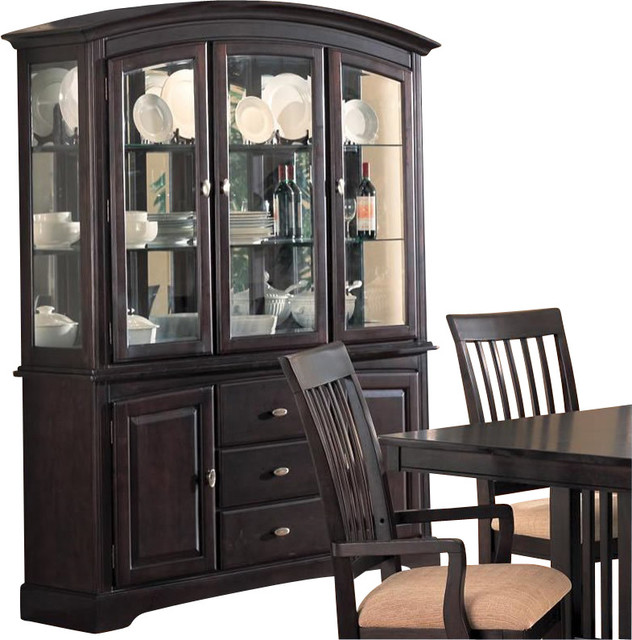 Coaster Monaco China Cabinet with Doors and Drawers in Rich Dark Cappuccino transitional-storage-units-and-cabinets