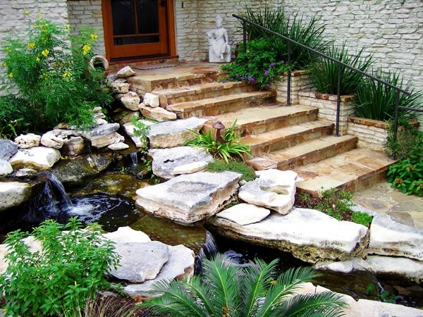 Waterfall at front door traditional-landscape