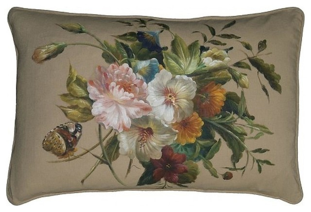 """New Hand-Painted Linen Throw Pillow 16""""x24"""" traditional-decorative-pillows"""