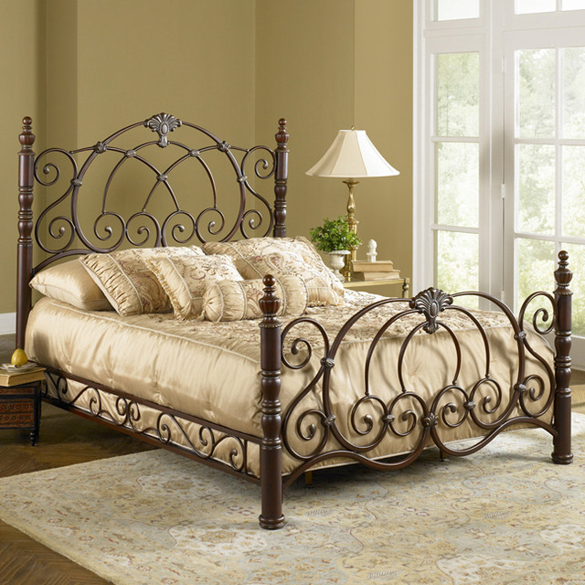 Strathmore metal bed mediterranean beds atlanta by for Wrought iron bedroom furniture