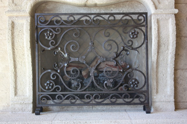 Custom iron fireplace screens mediterranean fireplace for Custom wrought iron fireplace screens