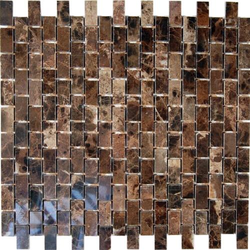 Dark Emperador 1/2x1 Marble Mosaic Tiles modern-mosaic-tile