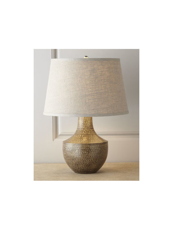 "Jamie Young - Jamie Young ""Kettle"" Hammered Metal Lamp - Exclusively ours. This urn-shaped body of this striking lamp exemplifies its artisan roots with the surface marks of its handmade and rustic fabrication and an organic patina from the forge. Handcrafted of hammered metal. Linen shade. Uses one 150-..."