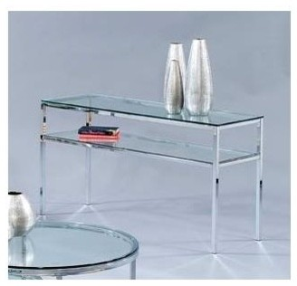Entertainment Console w Polished Glass Shelf contemporary-entertainment-centers-and-tv-stands